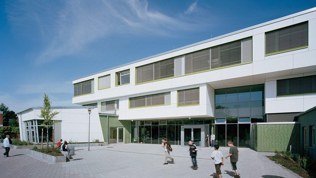 ABC-Klinker Referenzen Klinkerriemchen Farngrün Wilhelm-Busch-Grundschule in Hamburg
